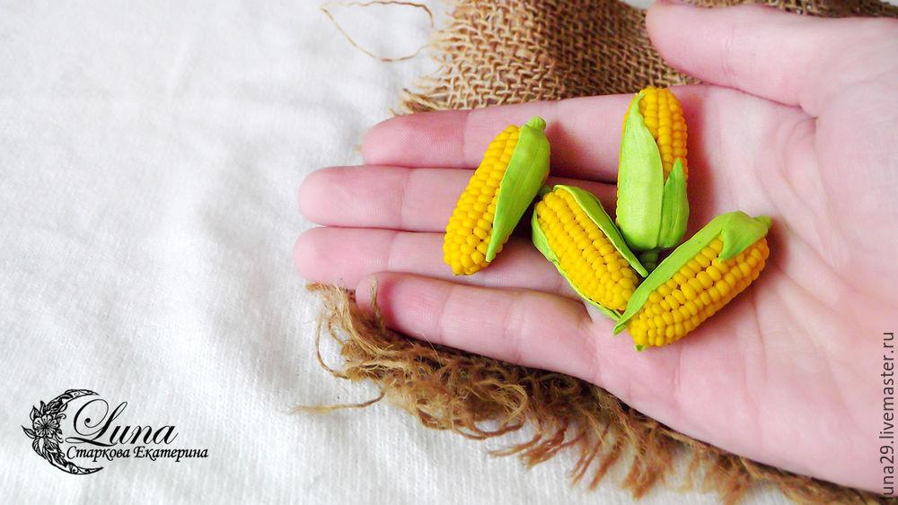 кукуруза, кулинарная миниатра, кукольная миниатюра, миниатюра из пластики, овощ, овощи из пластики, мастер-класс по миниатюре, видео мк, мастер-класс по лепке, урок лепки