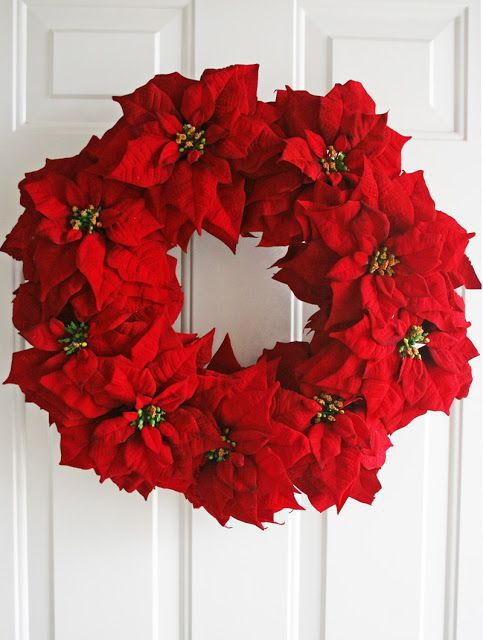 How-To: Make a simple poinsettia wreath tutorial
