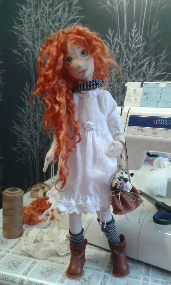 каркасная кукла, натуральные ткани