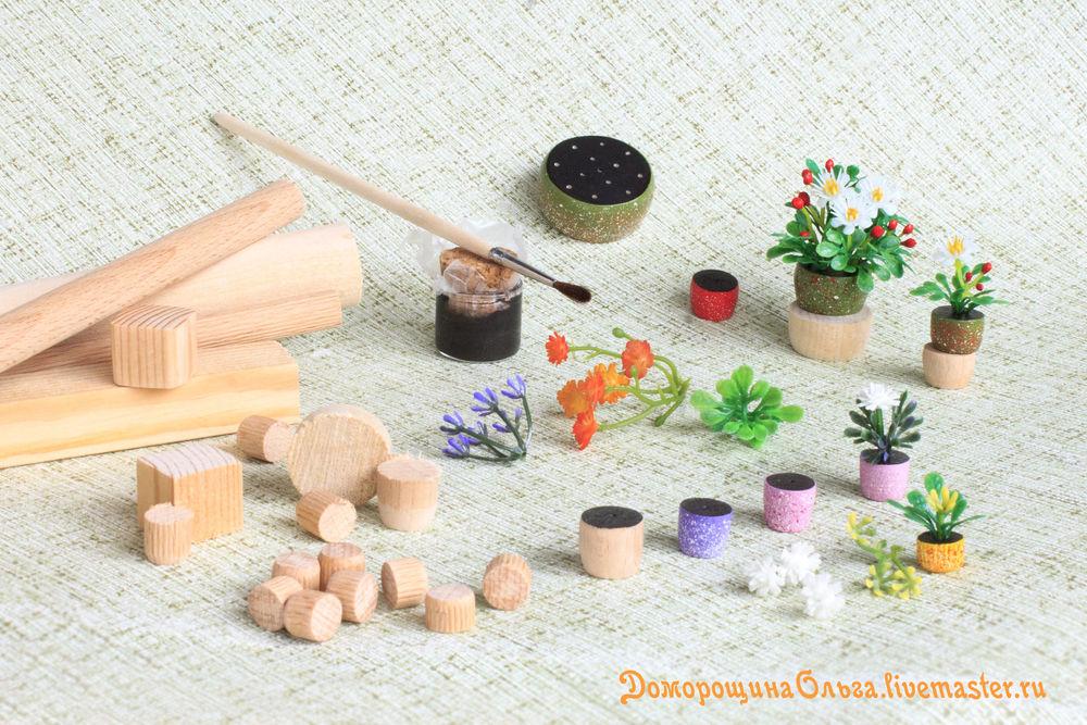 горшочки для цветочков, цветочки в кукольный дом