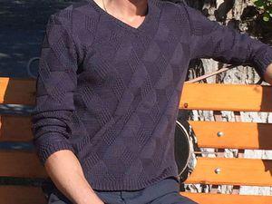 Вяжем спицами мужской хлопковый пуловер. Ярмарка Мастеров - ручная работа, handmade.