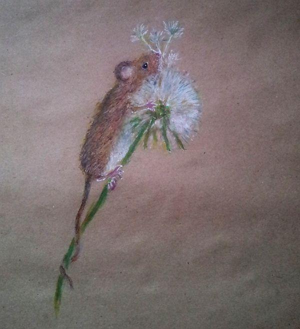 масляная пастель, одуванчик, природа, гелевые ручки