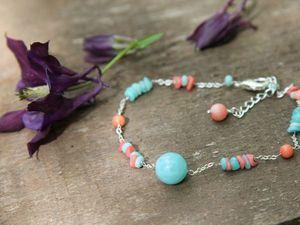 Новый браслет с халцедоном, амазонитом и кораллами!. Ярмарка Мастеров - ручная работа, handmade.