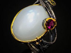 Видео Кольца ручной работы с натуральным Лунным камнем 24x17 мм, серебро 925 пробы. Ярмарка Мастеров - ручная работа, handmade.