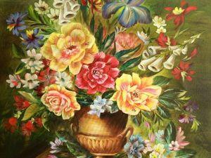 Пишем натюрморт маслом «Цветы в античной вазе». Ярмарка Мастеров - ручная работа, handmade.