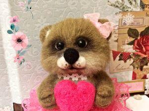 Валяем медвежку из шерсти с сердцем в лапках (Часть 1). Ярмарка Мастеров - ручная работа, handmade.