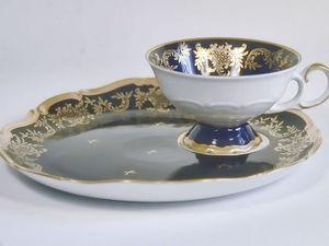 Чашка на Подносе Фарфор Кобальт Weimar | Ярмарка Мастеров - ручная работа, handmade