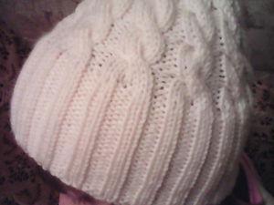 Вяжем классическую вязаную шапочку с косами и двойным отворотом. Ярмарка Мастеров - ручная работа, handmade.
