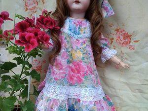 Платье для антикварной куклы из цветного батиста.. Ярмарка Мастеров - ручная работа, handmade.