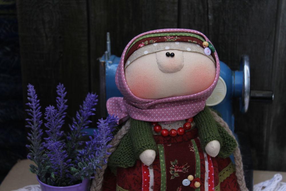 кукла текстильная, народный костюм, платок на голову