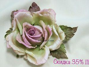 Нежная роза из шелка всего за 1365 р. !. Ярмарка Мастеров - ручная работа, handmade.