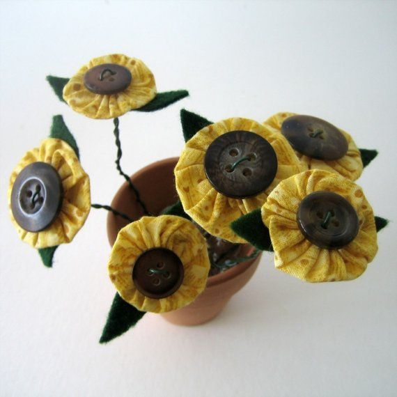 button sunflowers (fabric yoyo) (for sale on etsy)
