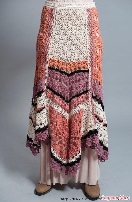 вязание крючком, юбка вязаная, юбка крючком