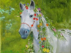 Картина маслом Цветение лошади. Ярмарка Мастеров - ручная работа, handmade.