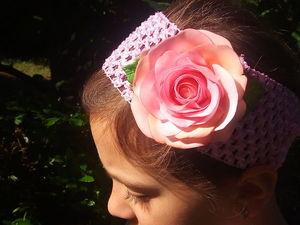 Повязка с Розой из фоамирана для доченьки | Ярмарка Мастеров - ручная работа, handmade
