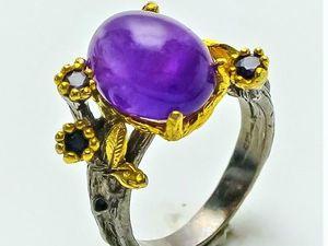 Серебряное кольцо с натуральным аметистом, размер 17. Ярмарка Мастеров - ручная работа, handmade.
