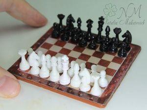 "Миниатюра ручной работы ""Шахматы"" для кукол. Ярмарка Мастеров - ручная работа, handmade."
