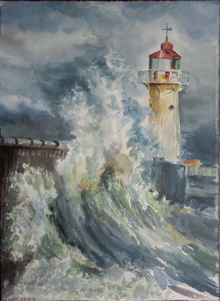 аукцион, акция, картина маяк, картина с морем, картина в подарок, картина шторм, морской пейзаж