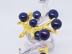 НОВИНКА! Роскошное кольцо с черным жемчугом Таити. Ярмарка Мастеров - ручная работа, handmade.