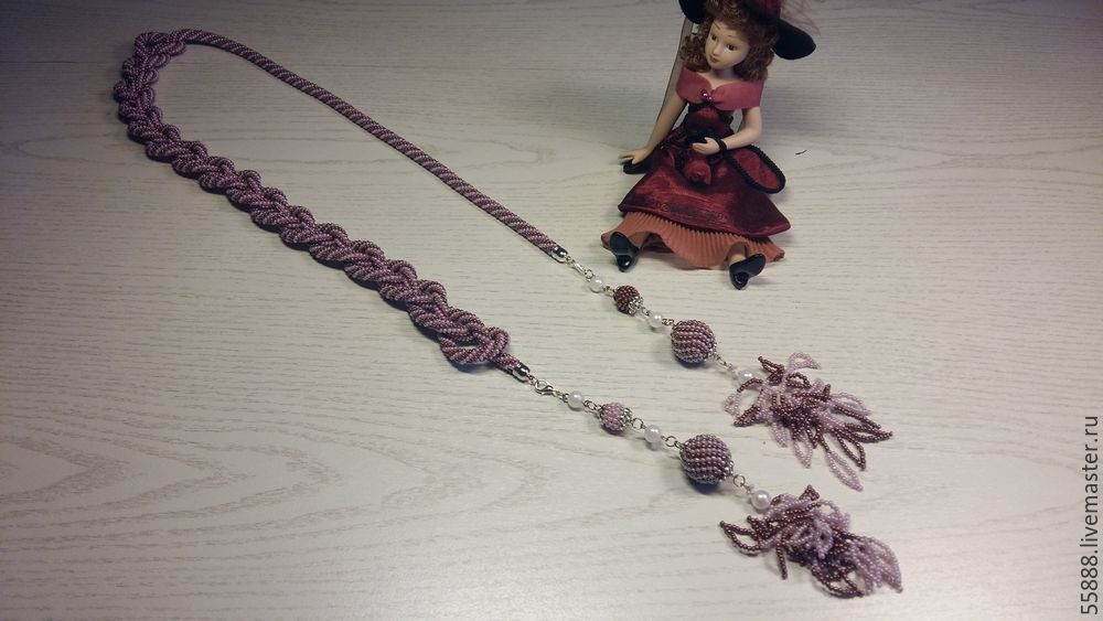 жгуты, бисерный жгут, лариат из бисера, вязание для начинающих