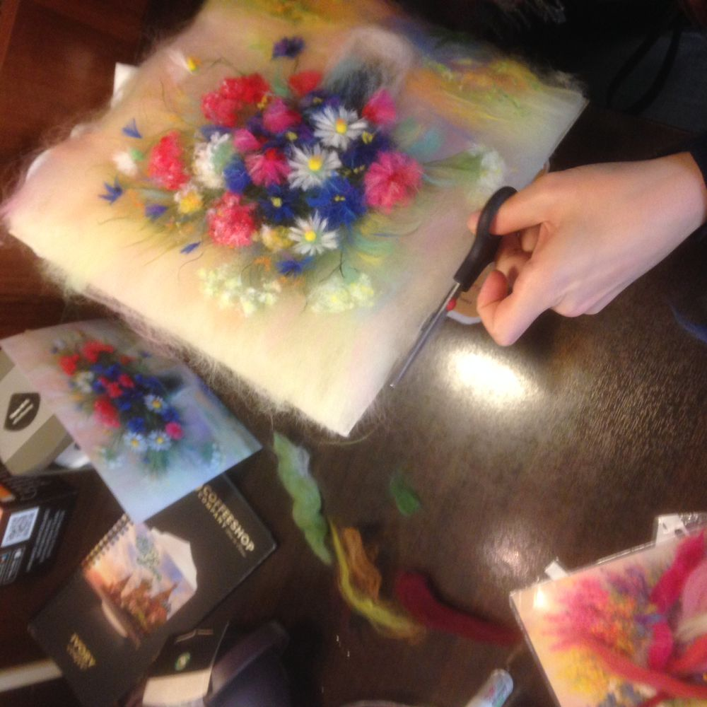 мастер-класс, шерстяная акварель, картина с цветами, мимоза, шерстяные картины