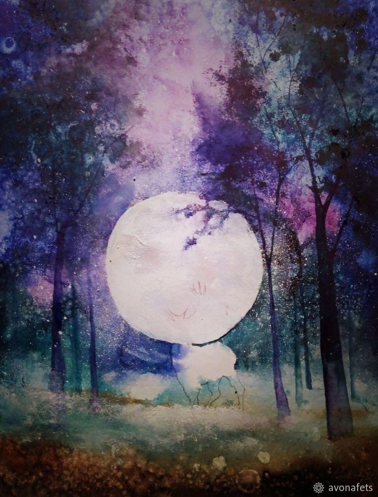Рисуем акварелью волшебный лес с оленем, фото № 16