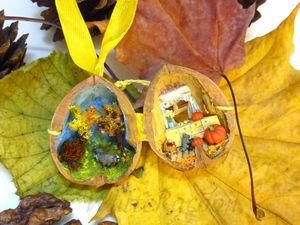 Осенние еноты: микротюра в орехе. Ярмарка Мастеров - ручная работа, handmade.