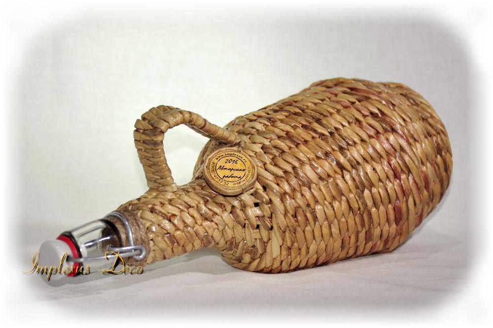 плетеная бутыль, ручная работа, подарок к праздникам