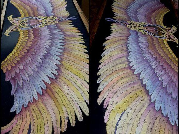 Новинка!Шёлковый палантин батик .Крылья с кельтским мотивом.100% шёлк 192-56с | Ярмарка Мастеров - ручная работа, handmade