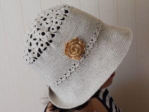 Летняя женская пляжная шляпка панама. Ярмарка Мастеров - ручная работа, handmade.