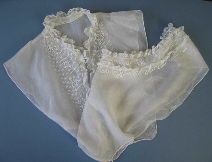 Two 19th Century Whitework Lace Trimmed Chemisettes 1840 | eBay seller jaruk, both have darns: