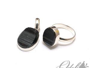 Серебряное кольцо и подвеска с шерлом (видео). Ярмарка Мастеров - ручная работа, handmade.