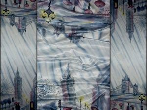 Шёлковый палантин батик. Лондонский дождь. Натуральный шёлк 190-56 см. Ремейк для Елены.. Ярмарка Мастеров - ручная работа, handmade.