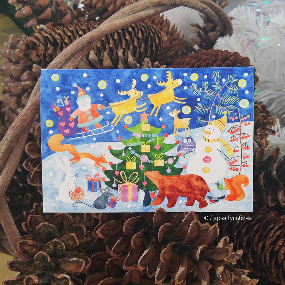 новый год, новогодние открытки, новогодние сувениры, письмо деда мороза, акварельные открытки, иллюстрации, пряничные домики