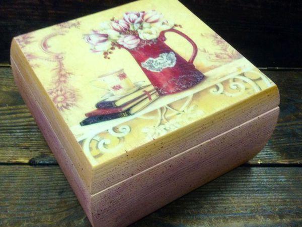 Декупаж чайной шкатулки! Работа с распечаткой и двухшаговый кракелюр! | Ярмарка Мастеров - ручная работа, handmade