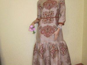 Платье с орнаментом из льна | Ярмарка Мастеров - ручная работа, handmade