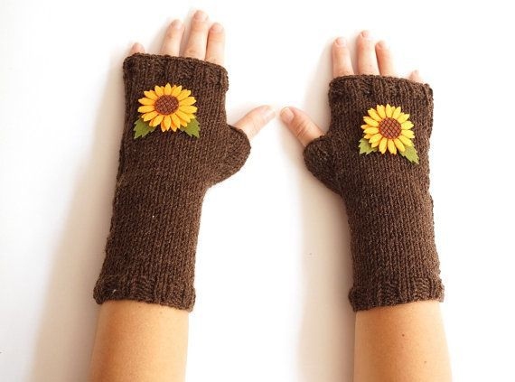 Sunflower  Knit Handwarmers Fingerless Mittens  Winter by Periay, $32.00