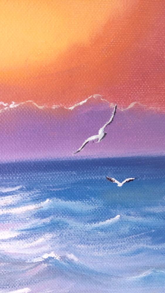 картина маслом, морской пейзаж, вечерний пейзаж, закат на море, алый закат, картина в подарок, картина в интерьер