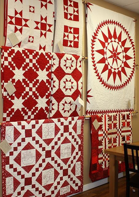 Red and white quilt show at Temecula Quilt Co..