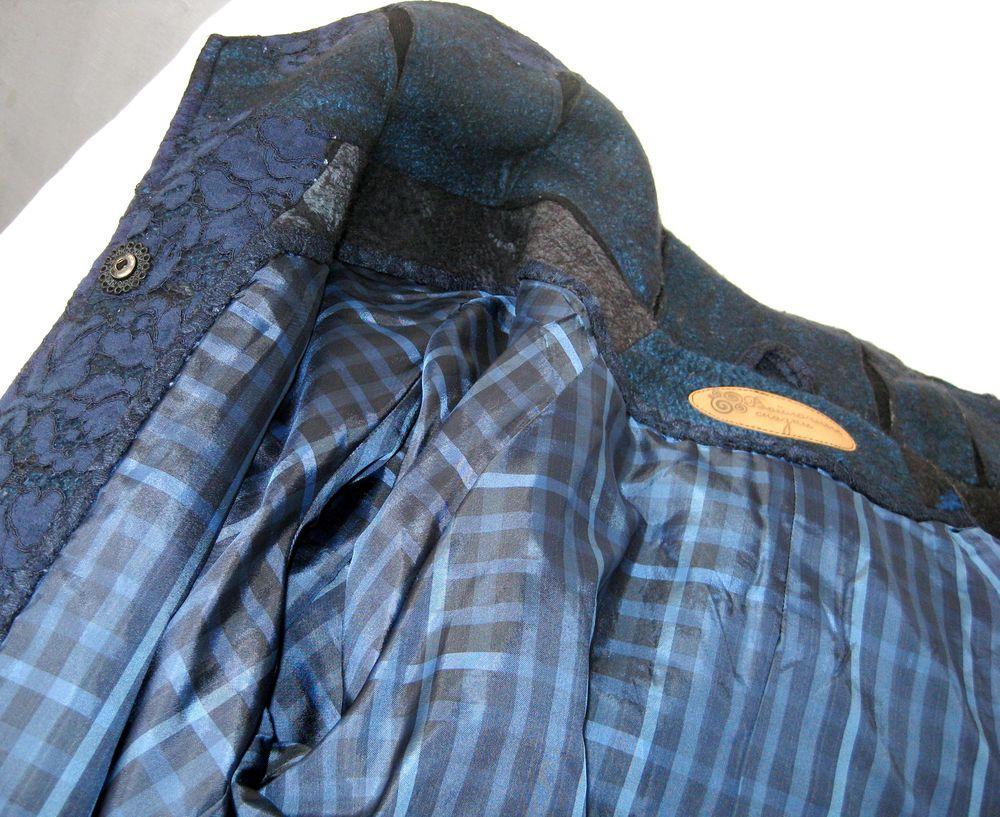 шерстяное пальто, синий цвет