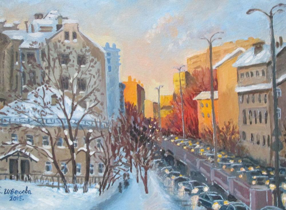 картина, купить в москве, зима, яркая картина, дома, красивая картина купить