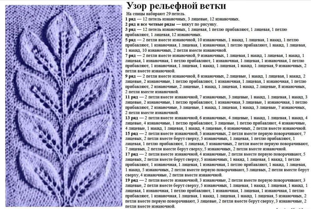 Рельефные ветки листьев вязание спицами