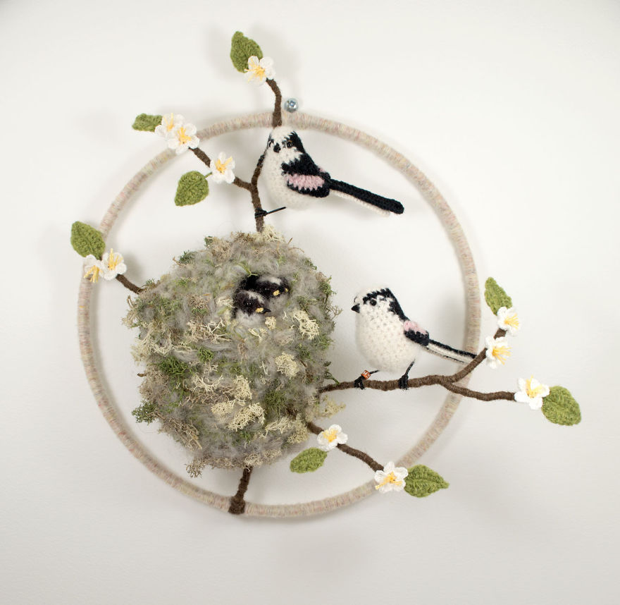 Вот-вот взлетят: реалистичные вязаные птицы Jose Heroys, фото № 14