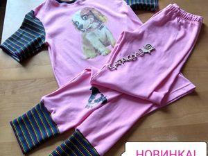 НОВИНКА! — трикотажный домашний костюмчик/ пижама для девочки на рост 140-146 см. Ярмарка Мастеров - ручная работа, handmade.