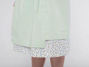 Двухслойная юбка кантри YOKU из светло-зелёного поплина и белого льна с цветочным принтом. Ярмарка Мастеров - ручная работа, handmade.