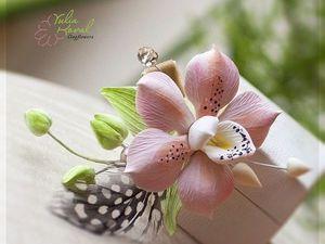 украшение с орхидеей из полимерной глины. | Ярмарка Мастеров - ручная работа, handmade