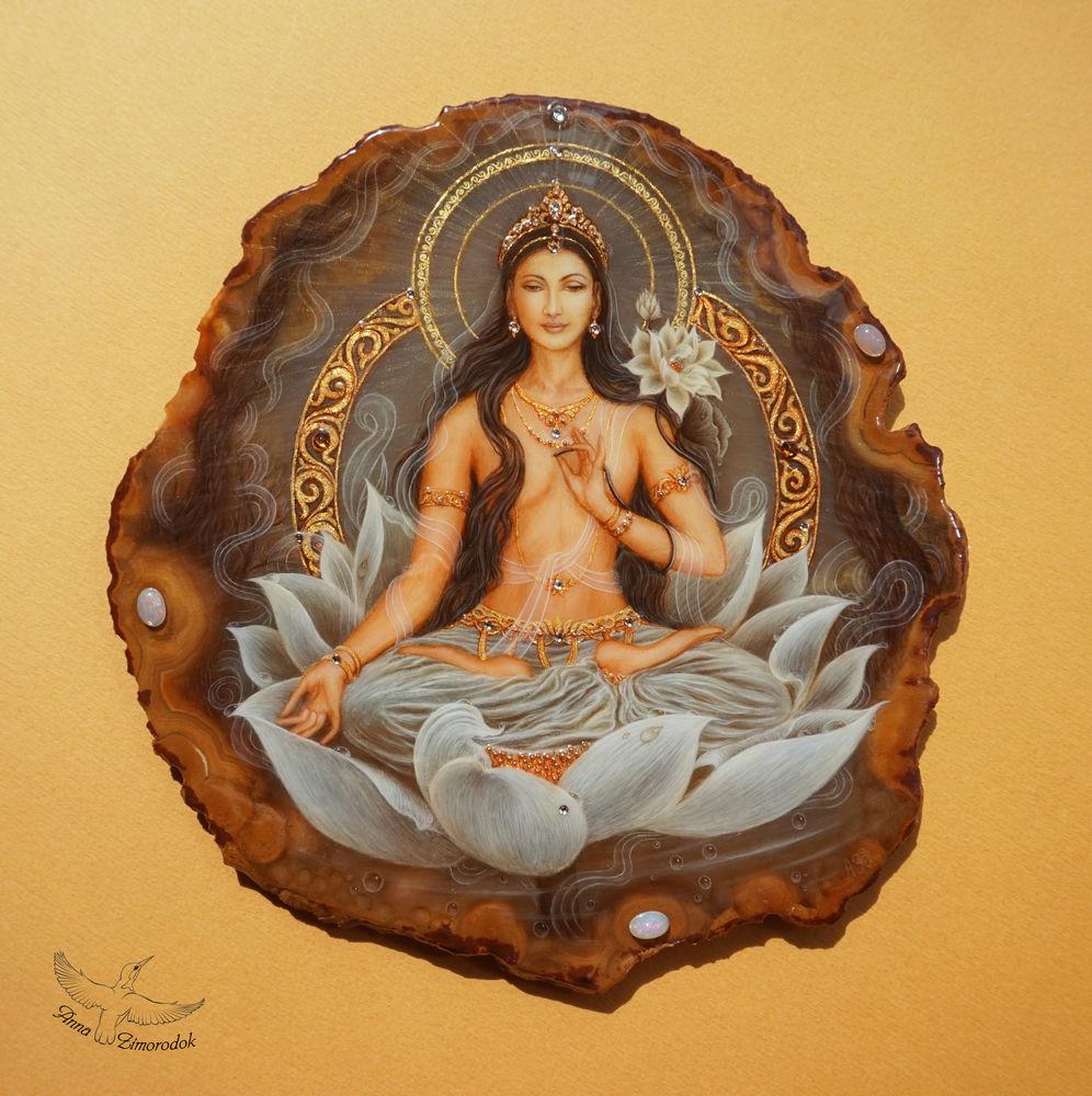 лаковая миниатюра, картины панно купить, подарок на свадьбу, йога медитация ом бог, подарок буддисту учителю, федоскино миниатюра, будда женщина бодхисаттва