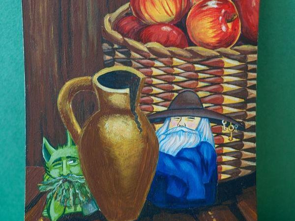 Рисуем акрилом добрых домашних духов на кухонной доске   Ярмарка Мастеров - ручная работа, handmade