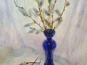 Пишем акварелью веточки ивы в синей вазе. Ярмарка Мастеров - ручная работа, handmade.