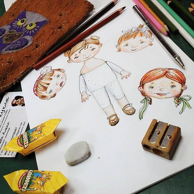 аленины куклы, детки конфетки, детство, эскизики, маленькие куклы, на рабочем столе